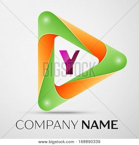Letter Y vector logo symbol in the colorful triangle on grey background. Vector template for your design