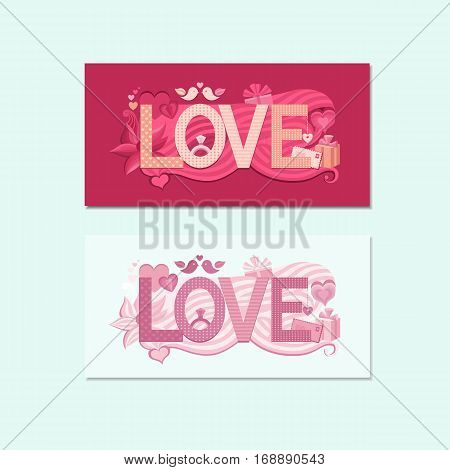 Greeting card for Valentines day with text love. Vector wedding invitation. Typography Valentine s Day. Card to make a marriage proposal.