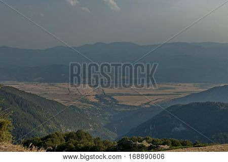 View to sub Balkan valley from Balkan mountain, Bulgaria