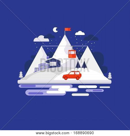 Mountain winter design concept background. Illustration vacation in the mountains. Collection of elements mountain, car, house, funicular railway, tree. Template for background, banner card