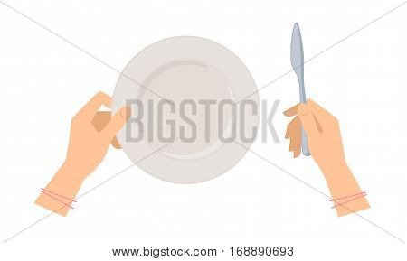 Female hands with table knife and empty ceramic plate. Flat concept illustration of restaurant and kitchen utensils silverware. Vector elements for web design social networks and food infographics.