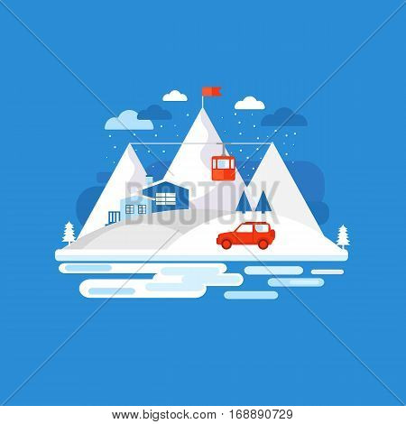 Mountain winter design concept background. Illustration vacation in the mountains. Collection of elements: mountain, car, house, funicular railway, tree. Template for background, banner card