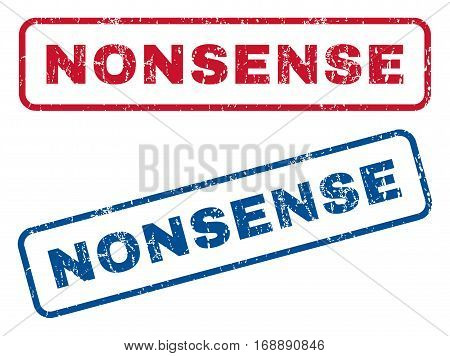 Nonsense text rubber seal stamp watermarks. Vector style is blue and red ink caption inside rounded rectangular banner. Grunge design and dust texture. Blue and red emblems.