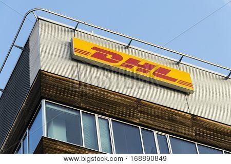 Prague, Czech Republic - February 5: Dhl Logistics Company Logo On The Headquarters Building On Febr