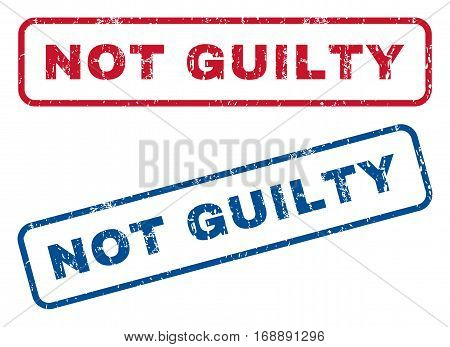 Not Guilty text rubber seal stamp watermarks. Vector style is blue and red ink caption inside rounded rectangular shape. Grunge design and dirty texture. Blue and red signs.