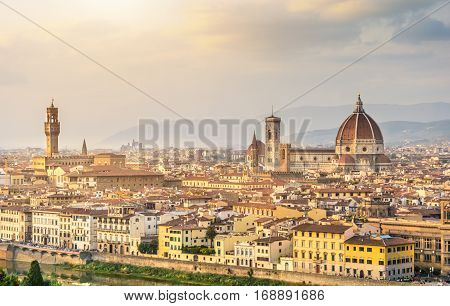 Aerial view from Michelangelo square of Florence famous for its history and considered the birthplace of the Renaissance. Attracts millions of tourists each year. City of museums and art galleries.