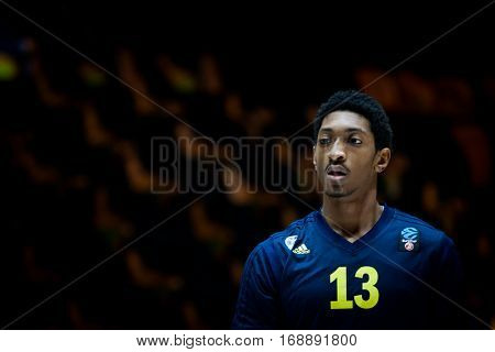VALENCIA, SPAIN - JANUARY 11: Malcolm Miller during Eurocup match between Valencia Basket and Alba Berlin at Fonteta Stadium on January 11, 2017 in Valencia, Spain