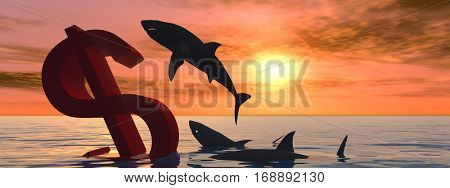 Conceptual 3D illustration bloody dollar symbol sign sinking in water sea, with black sharks eating, metaphor or concept for crisis in US banner, financial, crash, danger, business  currency designs
