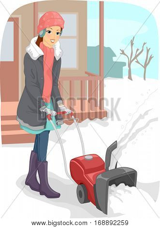 Illustration of a Young Woman in Winter Clothes Using a Snow Blower to Clear the Driveway of Snow