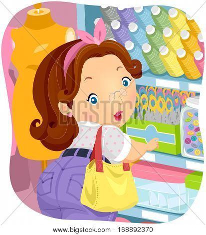 Illustration of a Plump Woman in a Textile Shop Checking Out Sewing Notions