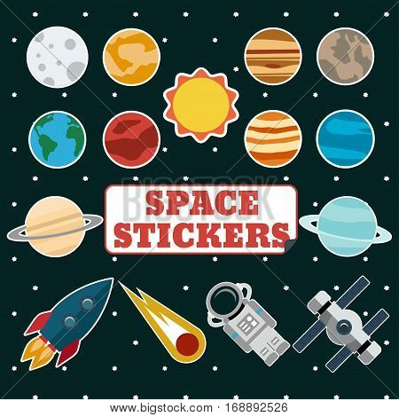Set of space stickers with sun planets comet rocket astronaut and space station on a background of outer space