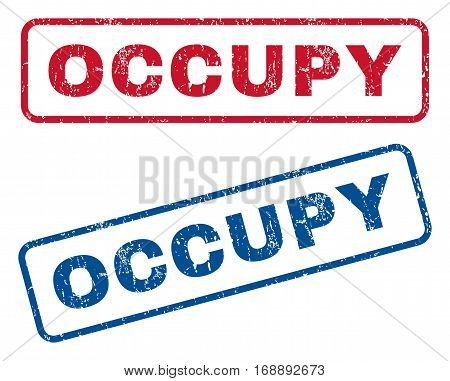 Occupy text rubber seal stamp watermarks. Vector style is blue and red ink caption inside rounded rectangular banner. Grunge design and dirty texture. Blue and red emblems.