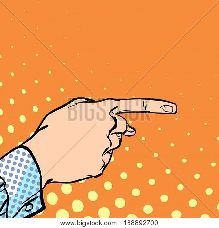 A male hand with forefinger. A man pointing a finger. A man explaining something. Businessman giving advice. Concept idea of advertisement and promo. Halftone background.