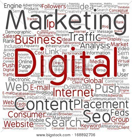 Concept or conceptual digital marketing seo or traffic square word cloud isolated on background metaphor to business, market, content, search, web, push, placement, communication technology