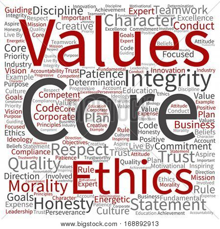 Vector conceptual core values integrity ethics square concept word cloud isolated on background metaphor to honesty, quality trust, statement, character, important perseverance, respect trustworthy