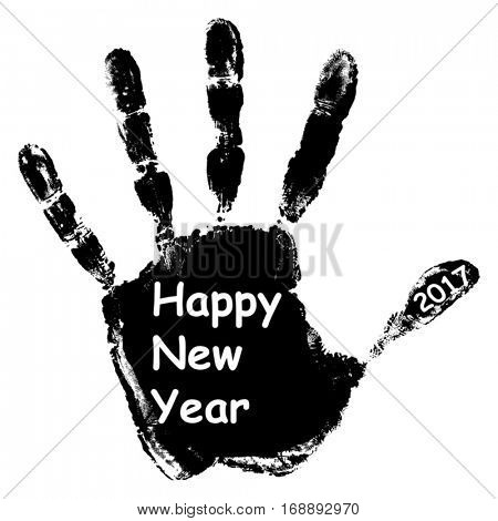 Vector concept or conceptual black ink hand print or handprint text made by children, Happy New Year 2017 kid greeting isolated on white background for celebration, holiday, party,winter, or eve event