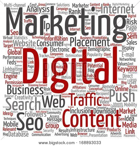 Vector concept or conceptual digital marketing seo or traffic square word cloud isolated on background metaphor to business, market, content, search, web, push, placement, communication technology