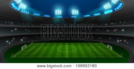 soccer football stadium spotlight background with glitter light vector