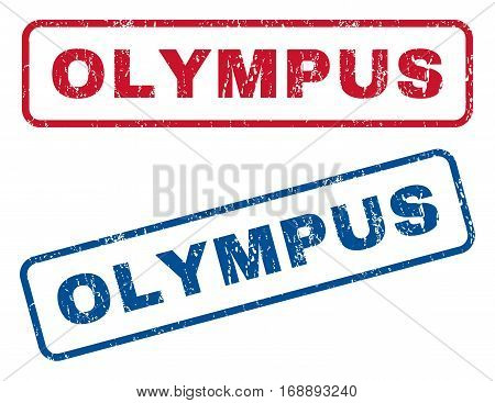 Olympus text rubber seal stamp watermarks. Vector style is blue and red ink tag inside rounded rectangular shape. Grunge design and unclean texture. Blue and red emblems.