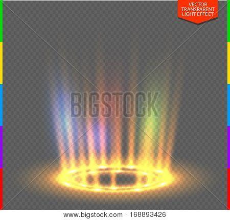 Round yellow glow rays night scene on transparent background. Empty light effect podium. Disco club dance floor. Show rainbow colors. Beam stage. Magic fantasy portal. Futuristic teleport.