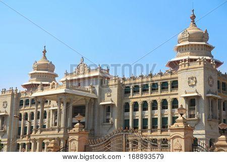 BANGALORE, INDIA - Dec13, 2015: Karnataka state Parliament house in the city of Bangalore, India.