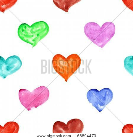Showy watercolor hearts on a white background -- raster seamless pattern