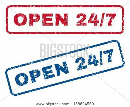 Open 24-7 text rubber seal stamp watermarks. Vector style is blue and red ink caption inside rounded rectangular banner. Grunge design and scratched texture. Blue and red stickers.