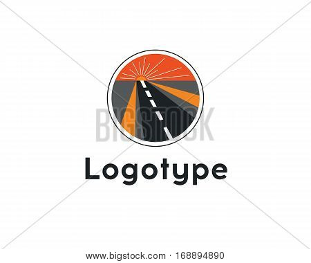 Logotype Transportation, Road, Highway.construction Vector Icon Idea With Highway In Negative Space.