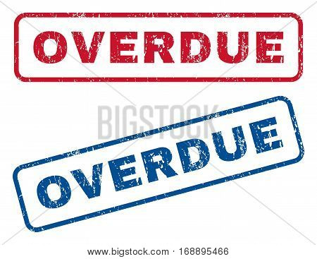 Overdue text rubber seal stamp watermarks. Vector style is blue and red ink tag inside rounded rectangular shape. Grunge design and scratched texture. Blue and red emblems.