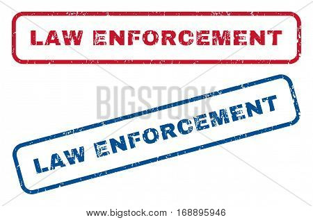 Law Enforcement text rubber seal stamp watermarks. Vector style is blue and red ink tag inside rounded rectangular banner. Grunge design and dirty texture. Blue and red stickers.
