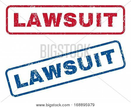 Lawsuit text rubber seal stamp watermarks. Vector style is blue and red ink caption inside rounded rectangular banner. Grunge design and scratched texture. Blue and red signs.