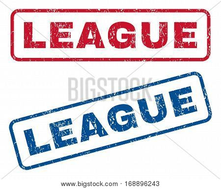 League text rubber seal stamp watermarks. Vector style is blue and red ink tag inside rounded rectangular shape. Grunge design and dirty texture. Blue and red emblems.