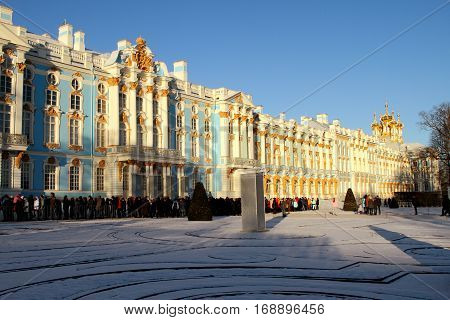 TSARSKOYE SELO (PUSHKIN) RUSSIA - JANUARY 04 2017:Catherine Palace Church of the ascension of Christ in Tsarskoye Selo (Pushkin) suburb of Saint Petersburg