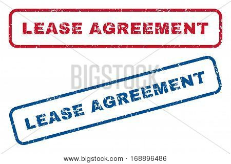 Lease Agreement text rubber seal stamp watermarks. Vector style is blue and red ink caption inside rounded rectangular shape. Grunge design and dust texture. Blue and red signs.