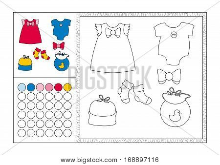 adult coloring book page with colored template decorative frame and color swatch - vector black and white contour picture - baby clothing