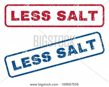 Less Salt text rubber seal stamp watermarks. Vector style is blue and red ink tag inside rounded rectangular banner. Grunge design and dirty texture. Blue and red signs.