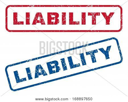 Liability text rubber seal stamp watermarks. Vector style is blue and red ink tag inside rounded rectangular shape. Grunge design and dirty texture. Blue and red signs.