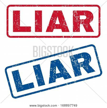 Liar text rubber seal stamp watermarks. Vector style is blue and red ink tag inside rounded rectangular shape. Grunge design and scratched texture. Blue and red signs.