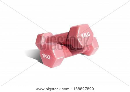 Two pink dumbbells fitness isolated on white background
