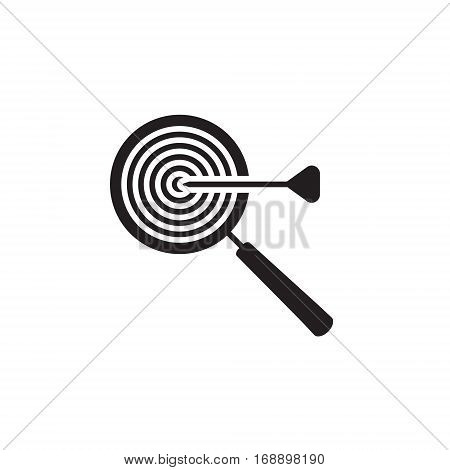 Vector icon or illustration showing web site seo ranking with magnifying glass and targetr in one balck color