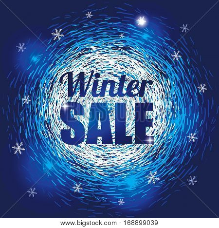 Winter Abstract Background with Snowflakes for Sale. Seasonal Discount Banner.