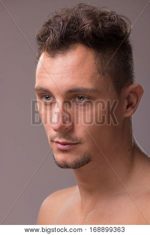 Young Adult Man Looking Sideways Head Face