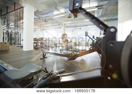 Workout on rowing machine