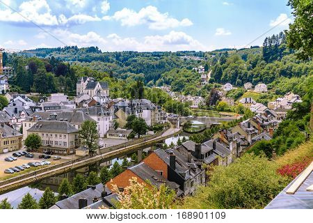 View of medieval Bouillon city in Belgium, Province Luxembourg