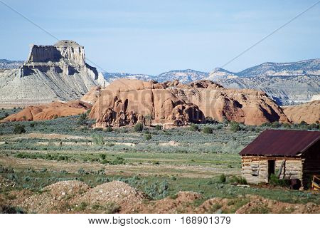 USA mountains colorado landscape and wooden chalet