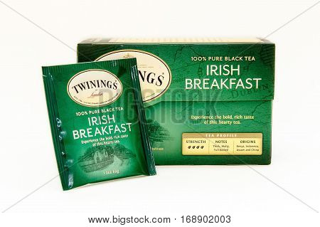 New York January 30 2017: A pack of Irish Breakfast tea isolated on white background.