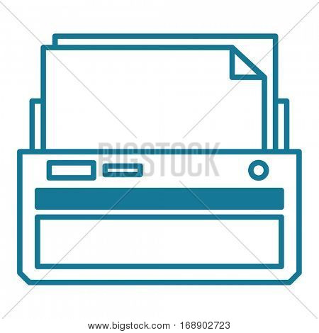 Printer or fax machine with half printed page. Linear vector illustration