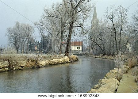 Doubs river in winter and frozen trees near Pontarlier Jura France