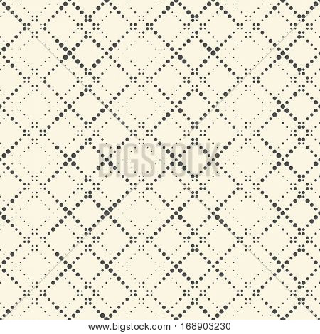 Seamless Circle Pattern. Vector Monochrome Dots Background. Abstract Lattice Ornament. Pixel Graphic Design. Modern Textile Tracery