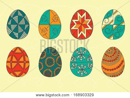 Set Of Color Easter Eggs. Easter Eggs. Vector Illustration. Easter Eggs Vector Icons Flat Style. Eas